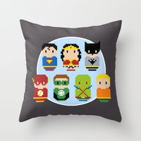 justice league Throw Pillows featuring Pixel Art - Justice League of America parody by Cloudsfactory