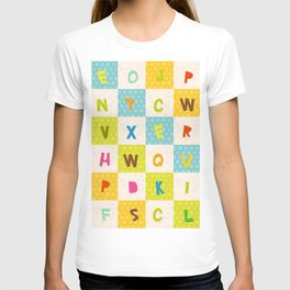 alphabet  from A to Z. Polka dot background with green blue orange square T-shirt