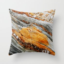 Gray Copper Marbled Petrified Wood Throw Pillow