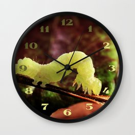 Close-up Green Garden Inchworm And Its Looping Gait Wall Clock