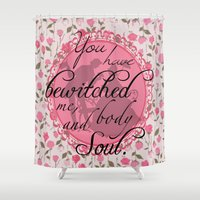 pride and prejudice Shower Curtains featuring Pride & Prejudice Quote by Canis Picta