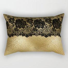 Black luxury lace on gold glitter effect metal- Elegant design Rectangular Pillow