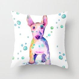 Terrier Bubbles Throw Pillow