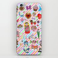 stickers iPhone & iPod Skins featuring I Love Stickers by Jade Boylan
