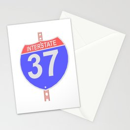 Interstate highway 37 road sign Stationery Cards