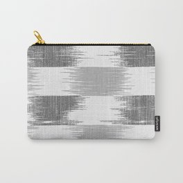 Modern black gray white ikat pattern Carry-All Pouch