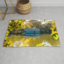 Home Sweet Home, Lake House, Fall Landscape, Lonely Home, Colorful Trees, Autumn Season, Wall Art Rug