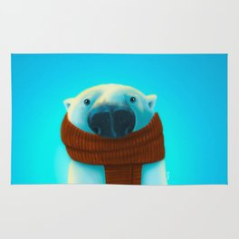 Polar bear with scarf Rug
