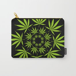 Cannabis Leaf Circle (Black) Carry-All Pouch