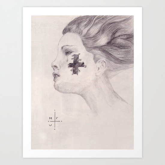 Tear & Cross Art Print