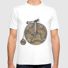 Penny Farthing Map White LARGE Mens Fitted Tee