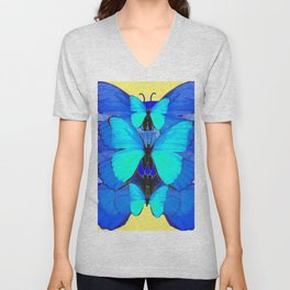 DECORATIVE BLUE SATIN BUTTERFLIES YELLOW PATTERN ART Unisex V-Neck