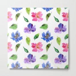 Blue, pink flowers. Watercolor florals. Botany. Metal Print