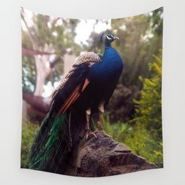 Peacock Rock Wall Tapestry