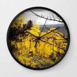 A Mountainside Fire of Gold Wall Clock
