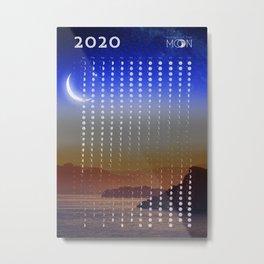 Moon phases calendar 2020 - #3 Metal Print