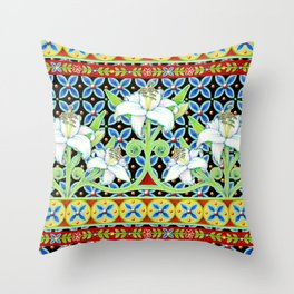 Elizabethan Folkloric Lily Throw Pillow