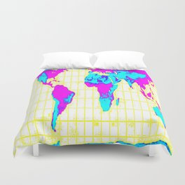 World Map: Gall Peters Colorful Duvet Cover