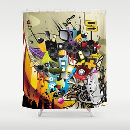 Sound System Space Shower Curtain