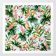 Tropical jungle with melons Art Print
