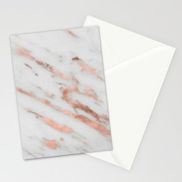 Marble - Rose Gold Marble with White Gold Foil Pattern Stationery Cards