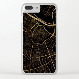 Black and gold Amsterdam map Clear iPhone Case