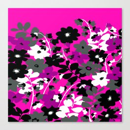 SUNFLOWER TOILE PINK BLACK GRAY WHITE PATTERN Canvas Print