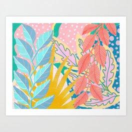 Modern Jungle Plants - Bright Pastels Art Print