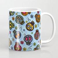 sugar skulls Mugs featuring Sugar Skulls by Kara Peters