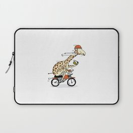 Giraffe on a motorbike eating a cheese sandwich... Laptop Sleeve