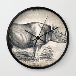 Vintage Rhino Sketch (Color) Wall Clock