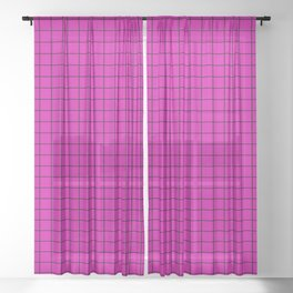 Magenta with Black Grid Sheer Curtain