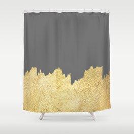 Golden brushstrokes II Shower Curtain