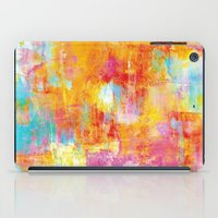 clueless iPad Cases featuring OFF THE GRID Colorful Pastel Neon Abstract Watercolor Acrylic Textural Art Painting Nature Rainbow  by EbiEmporium
