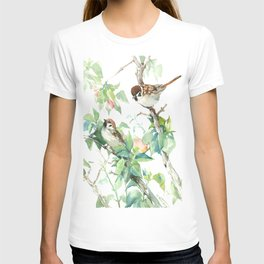 Sparrows And Apple Blossom, bird art Sage, teal green Vintage style floral bird art T-shirt