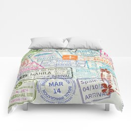 Vintage World Map with Passport Stamps Comforters