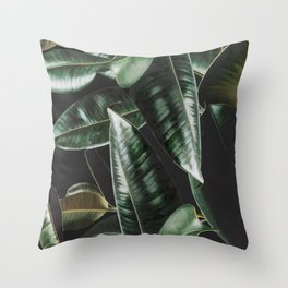 Rubber Plant Black Throw Pillow