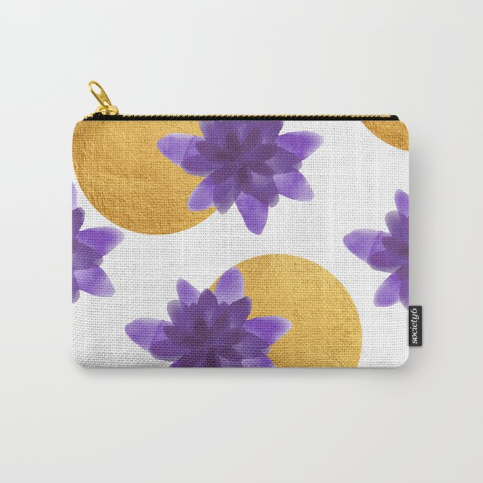Reassurance // Violet Watercolor Flowers and Gold Spots Carry-All Pouch