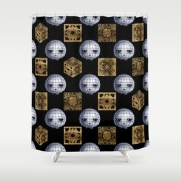 Chibi Pinhead & Puzzle Boxes Shower Curtain