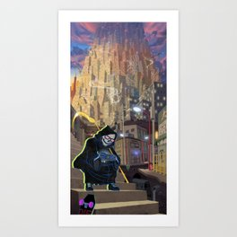 Uncle Death and the Tower of Barbs Art Print