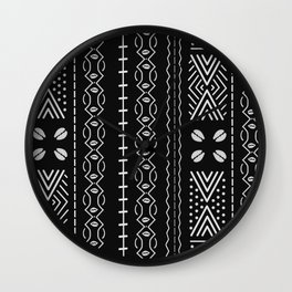 Black mudcloth with shells Wall Clock