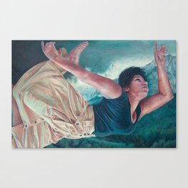 God's Orchestra, oil painting portrait of woman flying, lighthouse, dress, strong powerful woman Canvas Print