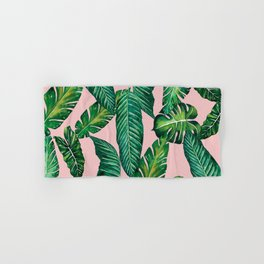 Jungle Leaves, Banana, Monstera II Pink #society6 Hand & Bath Towel