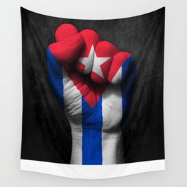 Cuban Flag on a Raised Clenched Fist Wall Tapestry