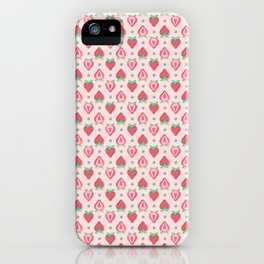Strawberry Halves Pattern in Pink iPhone Case