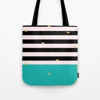 gold foil Tote Bags featuring Gold Foil & Teal by msstephiebaby