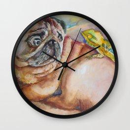 Pug and Chameleon Wall Clock