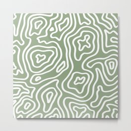 Topographic Abstract | Sage Metal Print