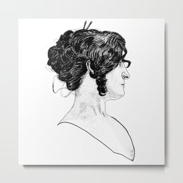 Victorian Era - Beautiful Woman - Portrait - Stippling - 1898 Metal Print