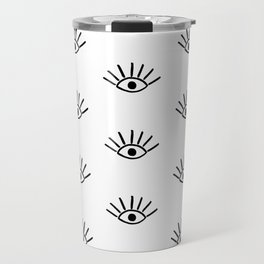 Black Evil Eye Pattern Travel Mug